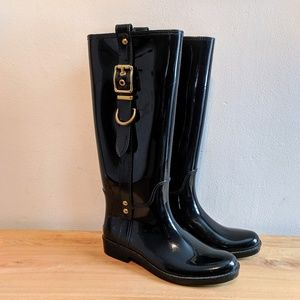 Coach Glossy Wellies Buckle Hardware Rain Boots 7